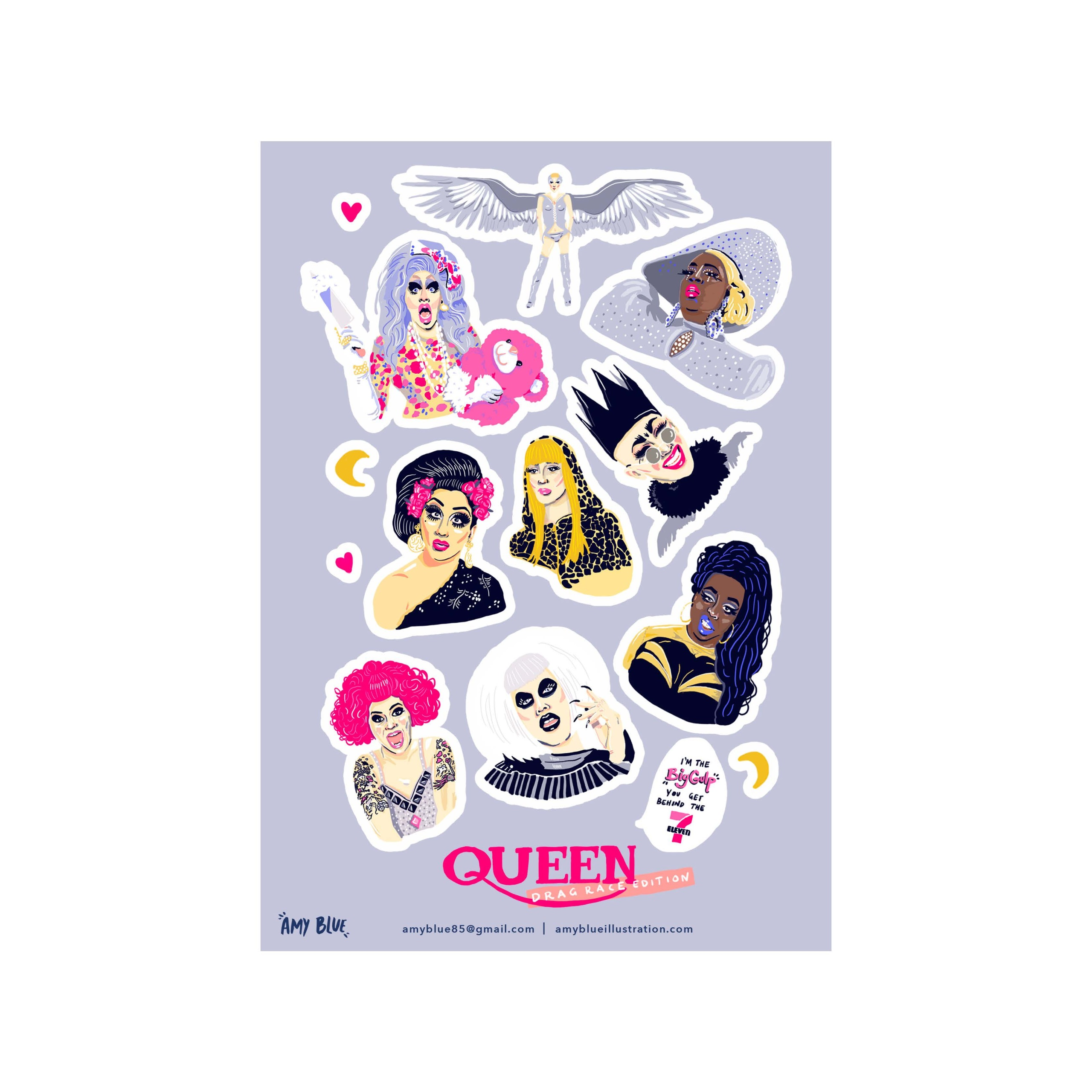 Rupaul S Drag Race Sticker Sheet Amy Blue Illustration